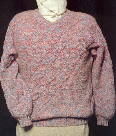 schr�g gestrickter Origami-Pullover, Origami sweater on the bias